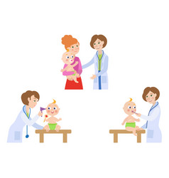 Flat female doctor infant baby scene set vector