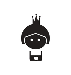 Flat icon in black and white princess vector