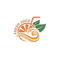fresh juice emblem vector image