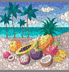 fruits beach mosaic composition vector image