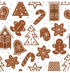 Gingerbread figures seamless pattern vector
