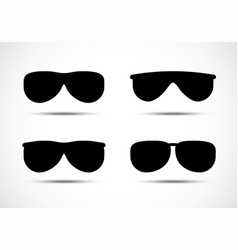 Glasses and sunglasses icons set vector