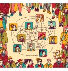 Group people social network connection color vector image