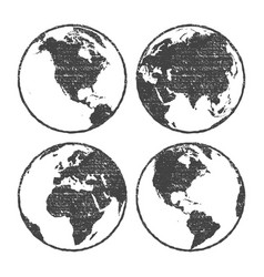 Grunge texture gray world map globe set vector