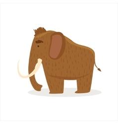 Hairy brown extinct mammoth cartoon ice age vector