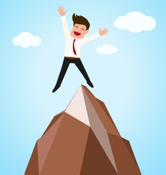 Happy businessman successful jumping on top of mo vector image
