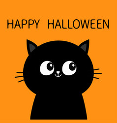 Happy halloween black cat sitting silhouette cute vector