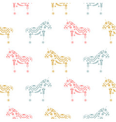 Horse seamless pattern with floral decorative vector