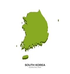Isometric map of South Korea detailed vector image