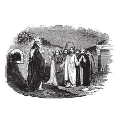 jesus speaks to ten lepers vintage vector image