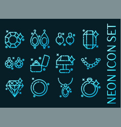 jeweler set icons blue glowing neon style vector image