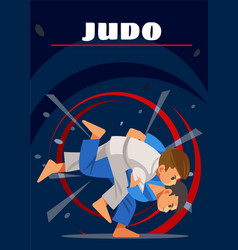 Judo poster kids sports vector