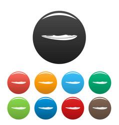 kayak icons set color vector image