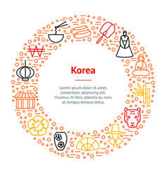 korea travel and tourism banner card circle vector image