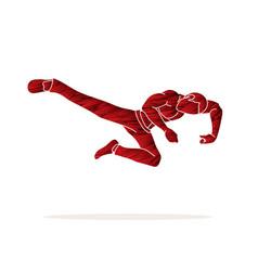 Kung fu action jump kick graphic vector