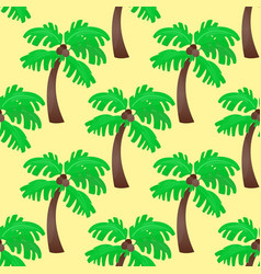 Leaves green palm trees seamless pattern vector
