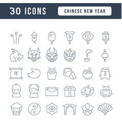 Line icons chinese new year vector
