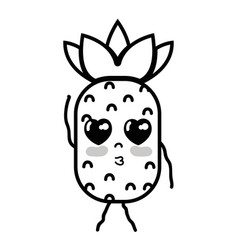 Line kawaii cute tender pineapple fruit vector
