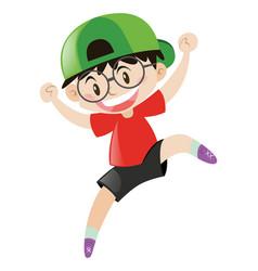 little boy wearing green cap vector image