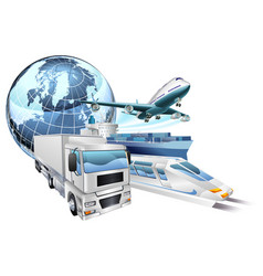 Logistics transport globe concept vector