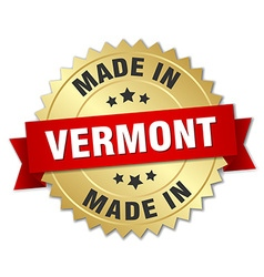 Made in Vermont gold badge with red ribbon vector