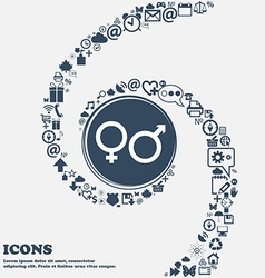 male and female icon sign in the center Around the vector image