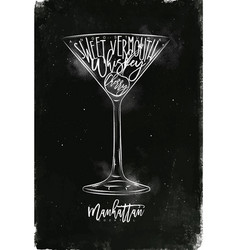 Manhattan cocktail chalk vector