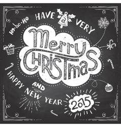 Merry Christmas doodle chalkboard vector