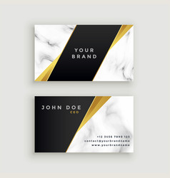 Modern marble business card with geometric golden vector