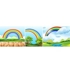 Nature scenes with rainbow vector image