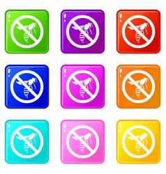no wasp sign icons 9 set vector image