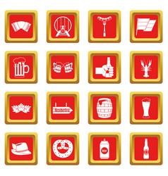 Oktoberfest icons set red vector