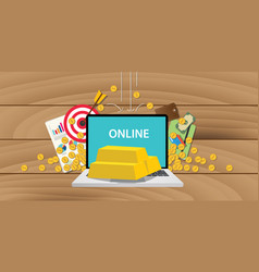 Online gold investment with gold bar and laptop vector