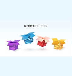 open textured gift box collection isolated vector image