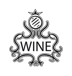 Ornate logo with crown and cask wine vector