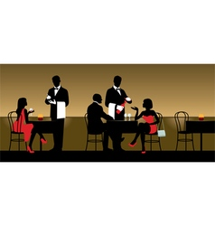People resting in night club or restaurant vector image
