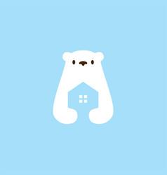 polar bear house home mortgage architecture logo vector image