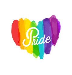 pride rainbow paint heart background image vector image