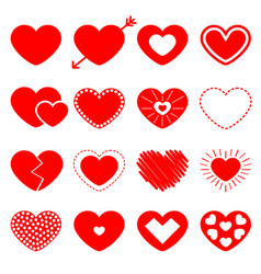 red heart big icon set happy valentines day sign vector image