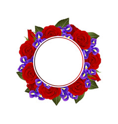 red rose and iris flower banner wreath vector image