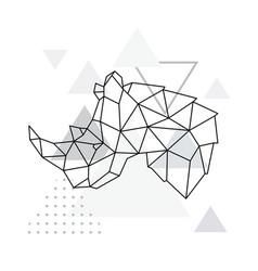 rhino geometric emblem rhino vector image