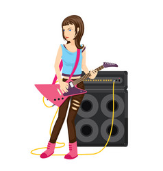 Rock star female guitarist performance in vector