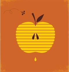 Rosh hashana greeting card with abstract apple vector