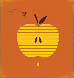 Rosh hashana greetng card with abstract apple vector