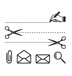 scissors cut lines and icons for notebook vector image
