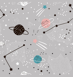 seamless pattern with stars constellations vector image