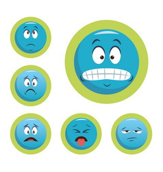set chat emojis with facial expressions vector image