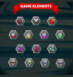 set of colorful game designing element vector image