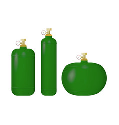 Set of green cylinder with liquefied gas vector