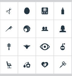 set of simple cosmetics icons vector image